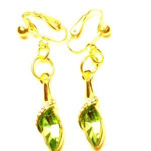 "1.5"" Gold Green Crystal Clipon Earrings"